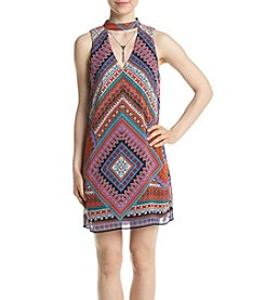 A. Byer Deep V Neck Printed Shift Dress
