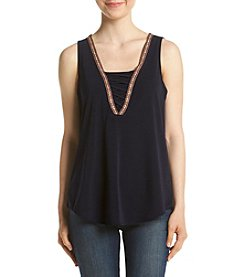 A. Byer Embroidered V-Neck Tank