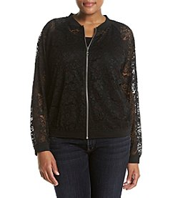 AGB® Plus Size Lace Bomber Jacket