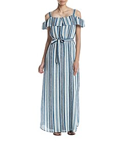 Luxology Striped Cold Shoulder Maxi Dress