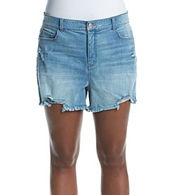 Hippie Laundry Plus Size Fray Hem Destructed Shorts