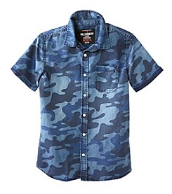 Seven Oaks Boys' 8-20 Short Sleeve Camo Printed Chambray Shirt