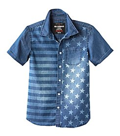 Seven Oaks Boys' 8-20 Short Sleeve Flag Printed Chambray Shirt