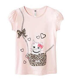 Beautees Girls' 4-6X 3D Kitty Purse Tee
