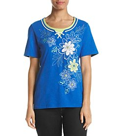 Alfred Dunner® Petites' Floral Embroidered Lace Up Top