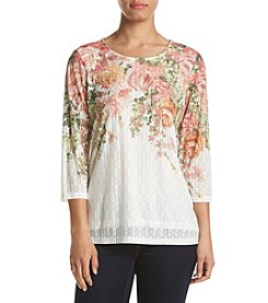 Alfred Dunner® Petites' Floral Yoke Top