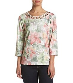 Alfred Dunner® Petites' Floral Knit Top