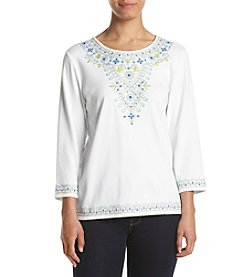 Alfred Dunner® Petites' Embroidered Yoke Top