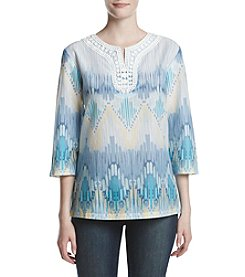 Alfred Dunner® Petites' Biadere Woven Top