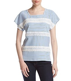 Alfred Dunner® Petites' Cap Sleeve Striped Knit Top