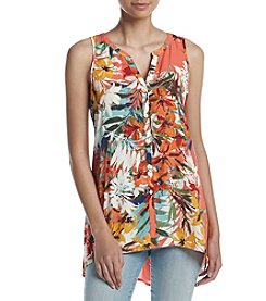 Cupio Mandarin Button Front Tunic Top