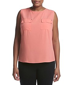 Calvin Klein Plus Size Two Pocket Woven Top