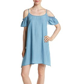 Jessica Simpson Chambray Cold Shoulder Dress