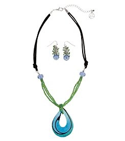 Erica Lyons® Teardrop Necklace and Pierced Earrings Gift Set