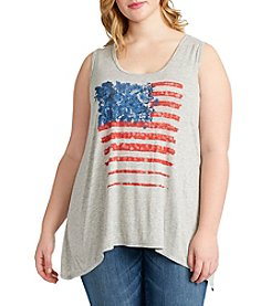 Jessica Simpson Plus Size Flag Graphic Tank
