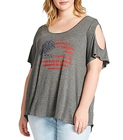 Jessica Simpson Plus Size American Lips Cold Shoulder Top