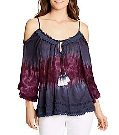 William Rast® Danae Tie Dye Flutter Sleeve Cold Shoulder Top
