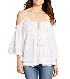 William Rast® Danae Flutter Sleeve Cold Shoulder Top