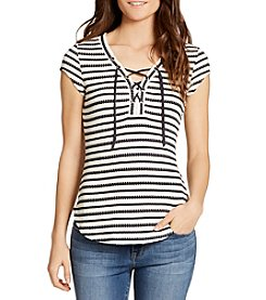 William Rast® Gordon-Trifecta Lace Up Stripe Top