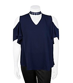 A. Byer Plus Size Cold Shoulder With Choker Top