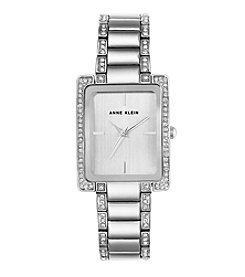 Anne Klein® Silvertone Rectangular Bracelet Watch