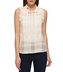 Tommy Hilfiger® Pleat Text Dot Blouse