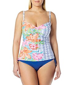 Beach House® Plus Size Floral Tankini Top