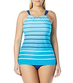Beach House® Plus Size Hi-Neck Tankini