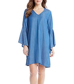 Karen Kane® V Neck Bell Sleeve Dress