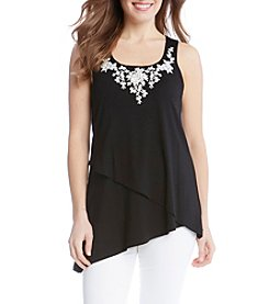Karen Kane® Asymmetrical Embroidered Tank