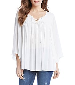 Karen Kane® Lace Up Bell Sleeve Blouse