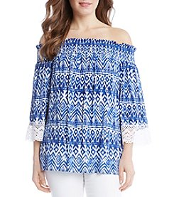 Karen Kane® Off Shoulder Lace Sleeve Blouse