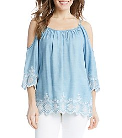 Karen Kane® Embroidered Cold Shoulder Blouse