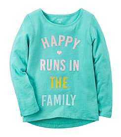 Carter's® Girls' 2T-8 Happy Runs In The Family Long Sleeve Tee
