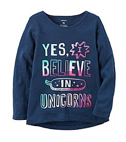 Carter's® Girls' 2T-8 I Believe In Unicorns Long Sleeve Tee