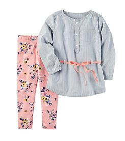 Carter's® Girls' 2T-8 Floral Top And Leggings Set