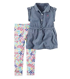Carter's® Baby Girls' 2-Piece Denim Tunic and Printed Leggings Set