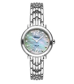 Seiko® Women's Tressia Silvertone Diamond Watch