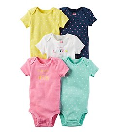Carter's® Baby Girls' 5-Pack Multi Dot Bodysuits