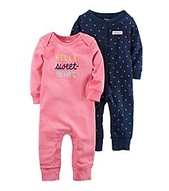 Carter's Baby Girls' 2-Pack Heart Print Coveralls