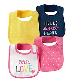 Carter's Baby Girls' 4-Pack Multi Dots Bibs