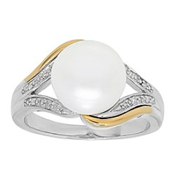 Sterling Silver and 14K Yellow Gold Cultured Freshwater Pearl Ring with 0.02CT Diamond Accents
