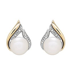 Sterling Silver and 14K Yellow Gold Chevron Cultured Freshwater Pearl Earrings with 0.02 Ct. T.W. Diamond Accent