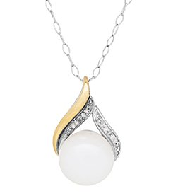 Sterling Silver and 14K Yellow Gold Cultured Freshwater Pearl Pendant with 0.02 Ct. T.W. Diamond Accents