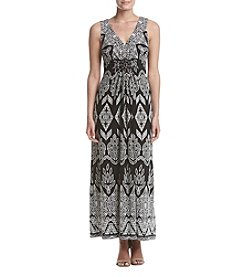 R&M Richards® Printed Bead Embellished Maxi Dress