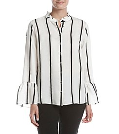 Calvin Klein Striped Button Front Blouse