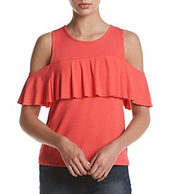 no comment™ Ruffle Front Cold Shoulder Top