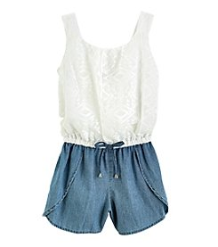 Sequin Hearts® Girls' 7-16 Chambray Bottom Romper
