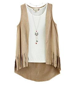 Speechless® Girls' 7-16 2 Piece Tank And Fringe Vest