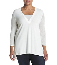 Jones New York® Plus Size Mesh Trim V-neck Tunic